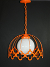 Retro Ceiling Light Swag - Orange - Metal Chandelier - 1970's